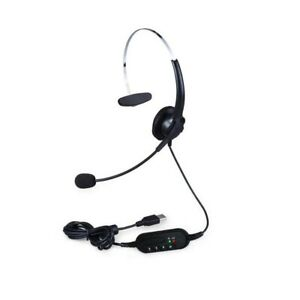 Single-Sided USB Corded Headset Call Center Monaural Headphone with Adjustable