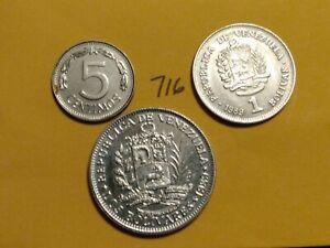 🇻🇪 (3) Pre-hyperinflation Venezuela Coins 1983 5 Centimos & 1989 1 & 2 Bolivar