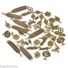 20PCs Bronze Tone Mixed Feather Butterfly Shape Pendants Fashion Charm GIFTS