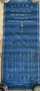 Old Vintage Blueprint Map Survey Street Plan Ashawa Canada By Duluth Engineering