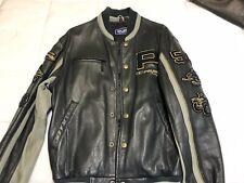 mens polaris leather jacket xl extra blue gray 50 years bomber varsity snap up