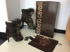 Roberto Cavalli Fur Trimmed Boots Uk 4.5, Eu37.5, Suede, Heel, Dasha RRP £1550