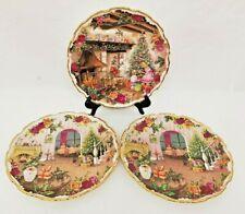 More details for 3 vintage royal albert bone china christmas magic plates