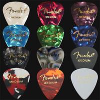 12 x Medium Fender Celluloid Guitar Picks / Plectrums - 1 Of Each Colour