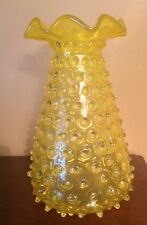 Yellow Empoli Rosso Italian Spikey Seed Hobnail Flare Buttercup Art Glass Vase