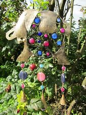 Fair Trade Hand Made Indian Metal Iron Elephant Bells Garden Wind Chime Mobile