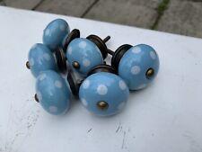 Set Of 6 Light Blue & White Polka Dots Ceramic Cupboard Draw Knobs