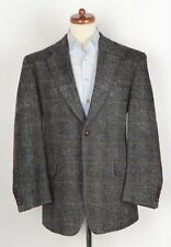 Mario Barutti Harris Tweed Sakko Jacket Gr 26 42S 52 S Wolle Wool Elbow Patches