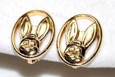 Boucles d'oreilles originales clip couleur or lapin bijou earring