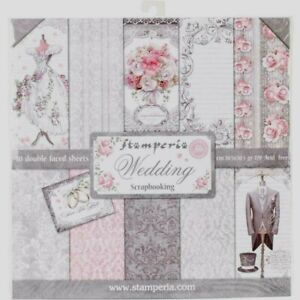 """Stamperia Scrapbooking Paper Pad 12""""X12"""" 10 DoubleFaced Sheets 24Designs Wedding"""