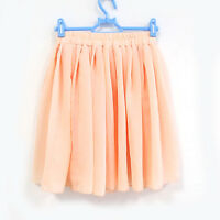 Retro High Waist Pleated Double Layer Chiffon Elastic Short Mini Skirt Dress UK