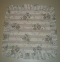 Simply Shabby Chic Decorative Throw Ruffled Pillow Cover Purple Roses Stripes