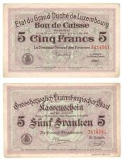 More details for luxembourg 5 francs banknote (1914-1918) p.29c - vf.