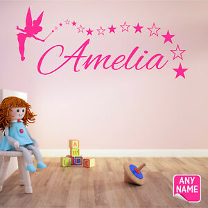 FAIRY Wall Sticker Personalised Name Girls Bedroom Vinyl Wall Art Decal #2 F11