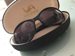 Sonnenbrille mit lesehilfe +1,5 Schwarz Silber Via Milano Hartschalen Etui