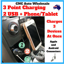 Car Charger 3 in 1 Cable 2.4 Amp Multifunction USB Car Phone iPad iPhone Android