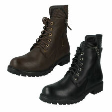 Spot On Lace Up Military Synthetic Boots for Women