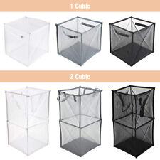 Foldable Mesh Washing Basket Bag Laundry Storage Collapsible Boxes Bin Hamper UK