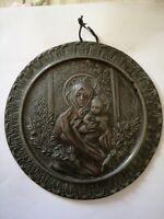 Icona bassorilievo Madonna Arborea in Portico antica 14cm metallo bronzo altri