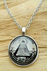 Illuminati Masonic Pyramid Glass Cabochon Pendant & Silver Effect Necklace NEW