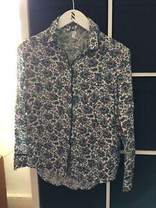 Gap Body Size XS Green Paisley Pj Pyjama Top Shirt (B8)