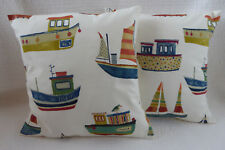 "16"" Cushion Cover Blue Red Cream Fishing Sailing Boat Print New 40cm"
