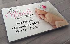 Large personalised wooden plaque 40cm x 30cm newborn baby girl birthday present