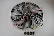 """NEW 16""""  CHROME REVERSIBLE ELECTRIC COOLING FAN S-BLADE - 2300 CFM -"""