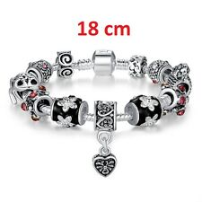 Bettelarmband 18 cm Silber 925 Armband Schwarz Charms Bead 12 in 1 Herz Liebe