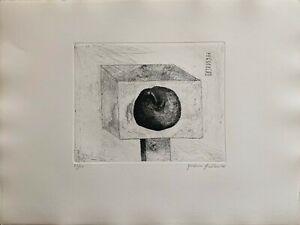 Giordano Frabboni incisione acquaforte 1970 idolo mela 65x46  numerata