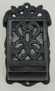 Antique Vtg Ornate Victorian Cast Iron Wall Match Holder w/ Lid Decor Old Stove