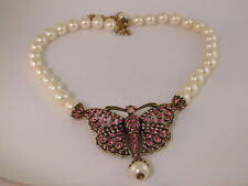 HEIDI DAUS NECKLACE SWAROVSKI CRYSTAL PINK BUTTERFLY FAUX PEARL DROP