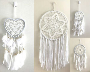 White Dream Catcher Feather Wall Hanging Ornament Home Decor Round/Heart