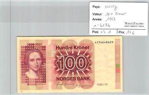 BILLET NORVEGE - 100 kroner 1993 n°4174 - Pick 43d