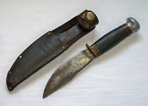 Vintage MARBLE Gladstone Carbon Steel Hunting Knife w/BUSTER BROWN SHOES Sheath