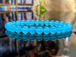 New! MIAMI VICE Translucent Cyan Blue Jade bead bracelet Men Women (Stretch) 8mm