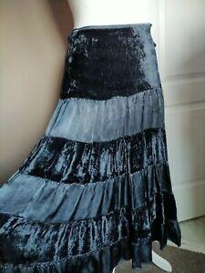 Stunning Black Grey Maxi Skirt Long Size14 Beaded Gothic Punk Velvet Satin Panel