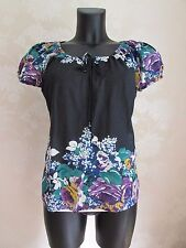 MONSOON Black Cotton Roses Flowers Summer Blouse Top UK 12 BNWOT & FREE NECKLACE