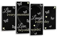 LIVE LOVE Quote Art Picture Black White Cream Heart Home Canvas Split 4 Panel
