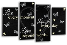 LIVE LOVE Quote Art Picture Black White Cream Heart Home Canvas Split 4 Panel
