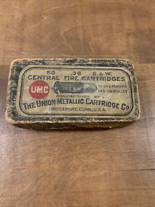 VINT VERY OLD .38 S&W CENTRAL FIRE CARTRIDGES 50 CT EMPTY AMMO BOX THE UNION BOX