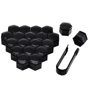17mm GLOSS BLACK ALLOY WHEEL NUT BOLT COVERS CAPS UNIVERSAL SET FOR ANY CAR