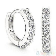 ITS- Charming Jewelry White Topaz Gemstones Crystal Silver Plated Hoop Earrings