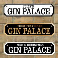 Personalised Gin Palace Sign, Gin Bar Plaque Man cave Home Bar Vintage Road Sign