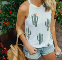 Lady Women Fashion Cacti Print Vest Top Short Sleeve Blouse Tank Tops T-Shirt