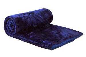 X LARGE Navy Blue Mink FUR Blanket Sofa / Bed Throw 200x240cm