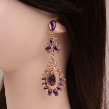 Girls Jewelry Crystal Rhinestone Amethest Dangle Earrings Eardrop