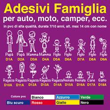 Adesivi famiglia a bordo personalizzati per auto, moto, camper. Family sticker