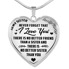 To My Sister Necklace Heart Pendant Luxury Gift For Sibling Family Inspirational