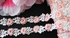 Nice  pink/white flower embroidery lace trim- ribbon - price for 1 yard